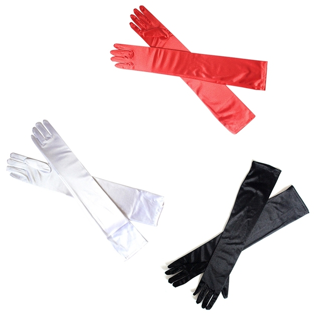 Long Finger Elbow Sun Protection Gloves Opera Evening Party Prom Costume Fashion Gloves Black Red White Grey Women 3