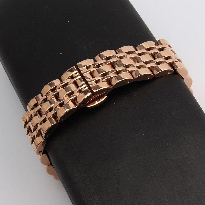 Prix pour 14mm 16mm 18mm 20mm 22mm 24mm bracelets droite fin mode remplacement Rose montres en or montre bracelet bracelets poli nouveau