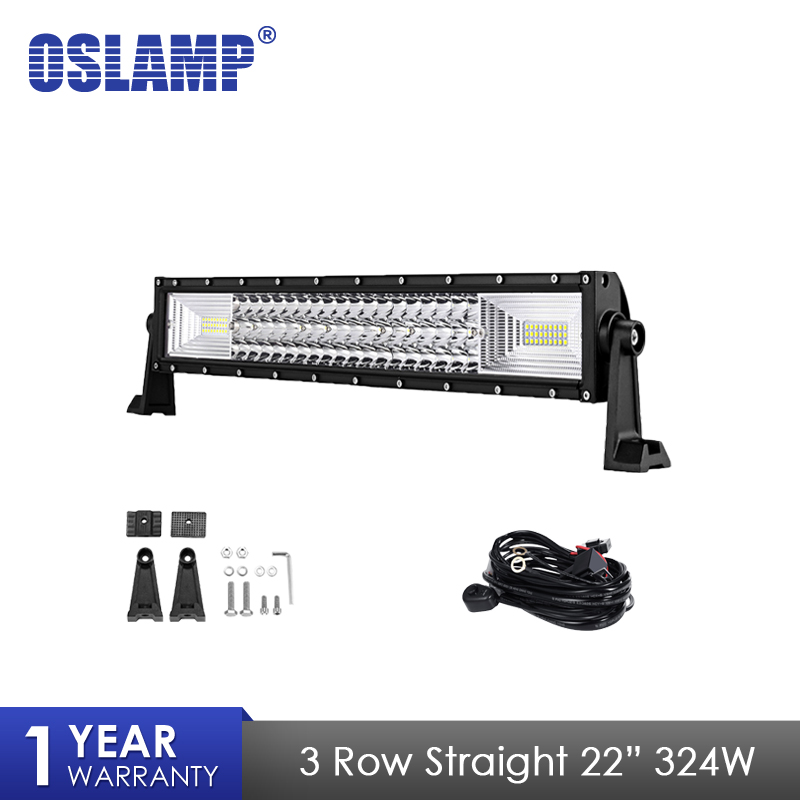 Oslamp 3 Row 22 324W LED Light Bar Straight Combo Beam Led Bar Work Light For 4x4 Truck ATV Trailer Car Offroad Driving Light 43inch led light bar 200w single row led work light combo offroad 4x4 led bar light car fog driving lamp for ford f150 f250 f350