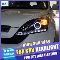 Автомобиль для укладки для Honda CR V светодиодный фара 2007 2011 для CRV светодиодный DRL Би ксеноновые свет аксессуары H7 hid комплект ангел глаз ближне