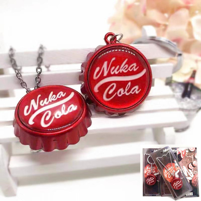 Game Fallout 4 cosplay keychain pendant necklace red personality funny man woman alloy Keyring Jewelry chaveiros Bottle opener