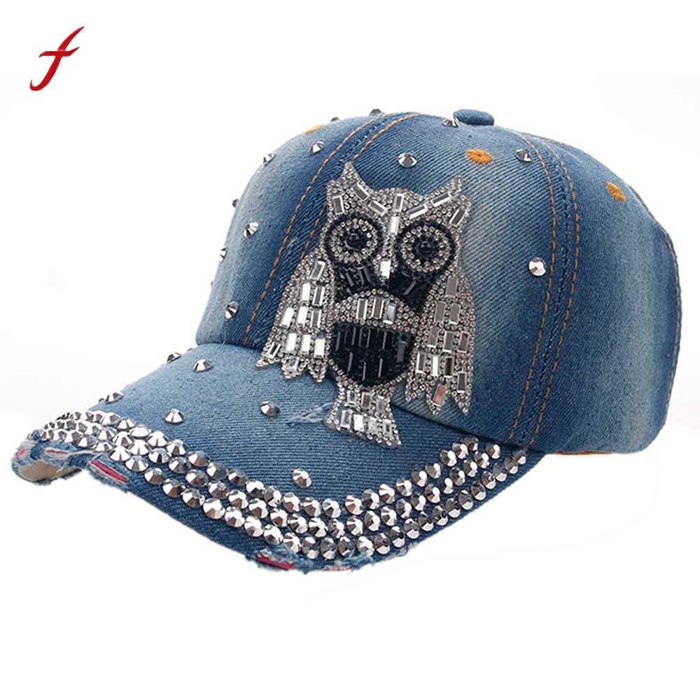 bbca94702da 2019 fashion women baseball cap men printing Owl Denim Rhinestone brand  girl Vintage fashion sport Hip
