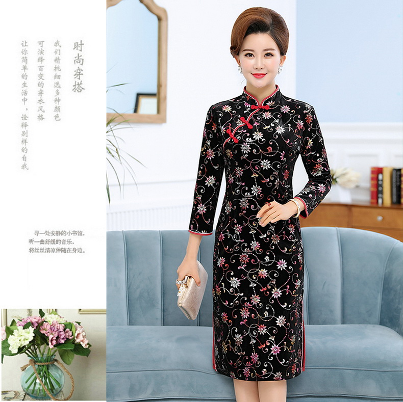 Oriental Style Women Vintage Dresses Red Black Red Stamped Qipao Dress Woman Mandarin Collar Robe Femme Side Slit Slim Fit Dress Elegant Dresses (12)