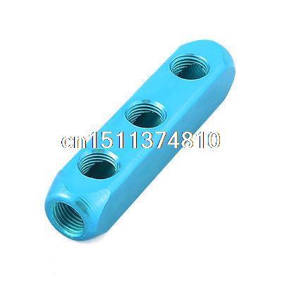 Pneumatic 1/4 PT 3 Position Air Hose Inline Manifold Block Splitter Teal Blue air compressor 1 4pt 7 way air hose pipe inline manifold block splitter free shipping