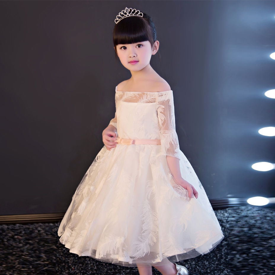 Online get cheap girls feather bridesmaid dress aliexpress new 2017luxury white baby girl bridesmaid flowers wedding party dress ball gown birthday evening prom party ombrellifo Image collections