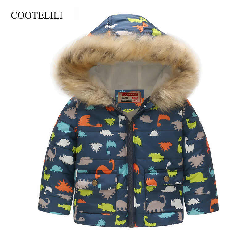 COOTELILI Cute Dinosaur Kids Boys Winter Jacket Cotton Fleece Fur Hooded Parka Baby Boys Coat Outerwear For Children 90-130cm