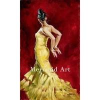 Artist Hand painted sexy dancer girl Flamenco Spanish Woman Heat Dancing Dancer Oil Painting Canvas art Flamenco Dancing