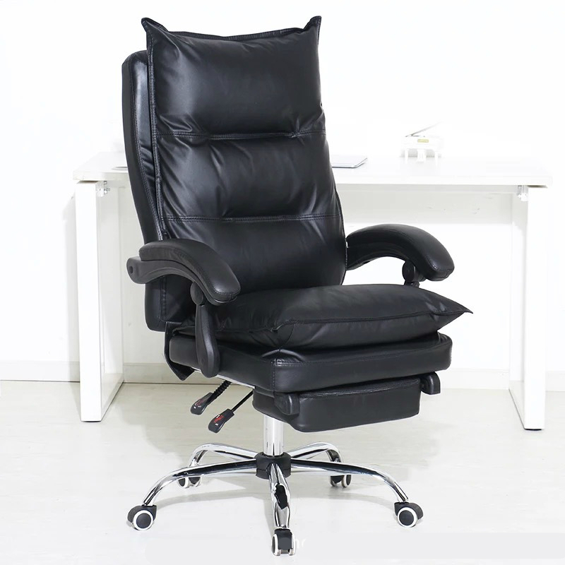 Thicken Double Layer Computer Chair PU Soft Reclining Swivel Chair Lifted Multifunction Office Chair with Footrest Boss Chair ...