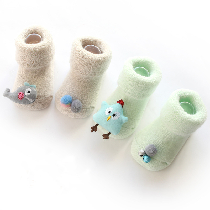 2Pairs/lot Infant Baby Socks Newborn Cotton Cartoon Terry Baby Socks Winter Girls Boys Anti Slip Socks Shoes Age For 0to12Month