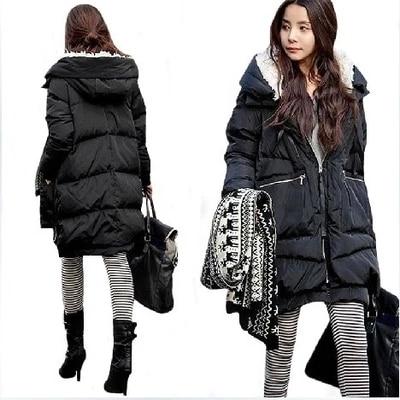 2018 Korea Winter Fashion Woman Duck   Down     Coat   & Jacket with a Hood Thicken Warm Parka Khaki Plus Size XL Cheap Price