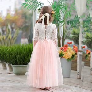 Image 3 - 2019 봄 여름 세트 여자 하프 슬리브 레이스 탑 + 샴페인 핑크 롱 스커트 아동복 0 10T E17121
