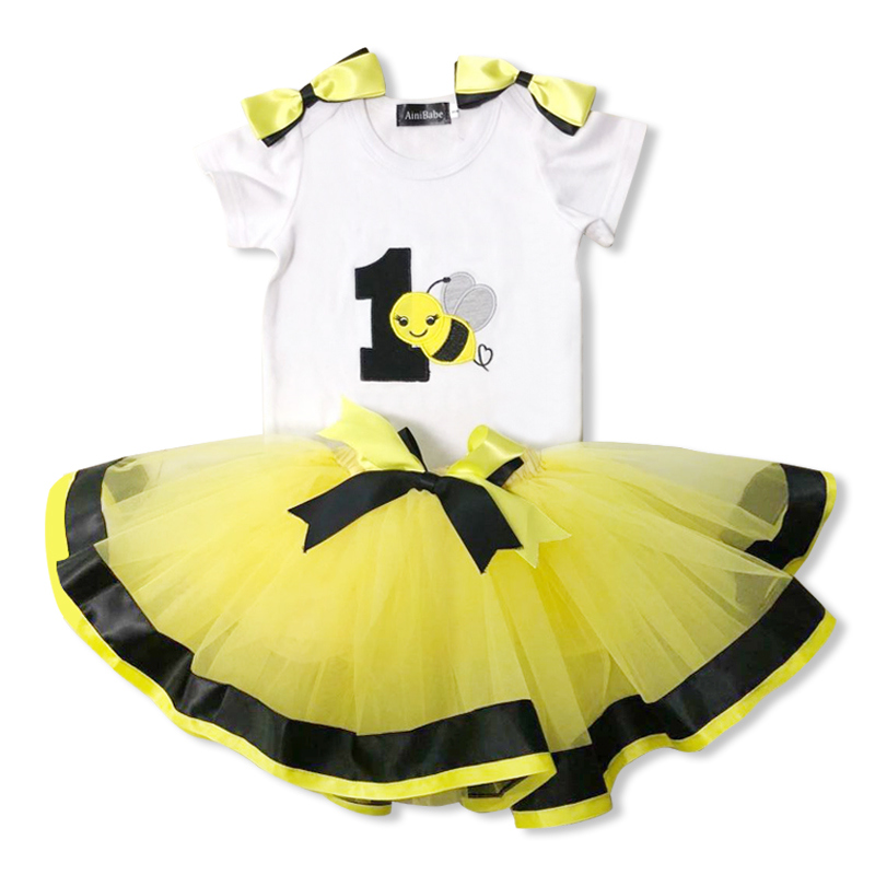 Summer Baby Lovely Tutu Dress Yellow Bee 1st Birthday Bow Shoulder Clothing 1 Year Little Princess Party Wear Dress for Baptism