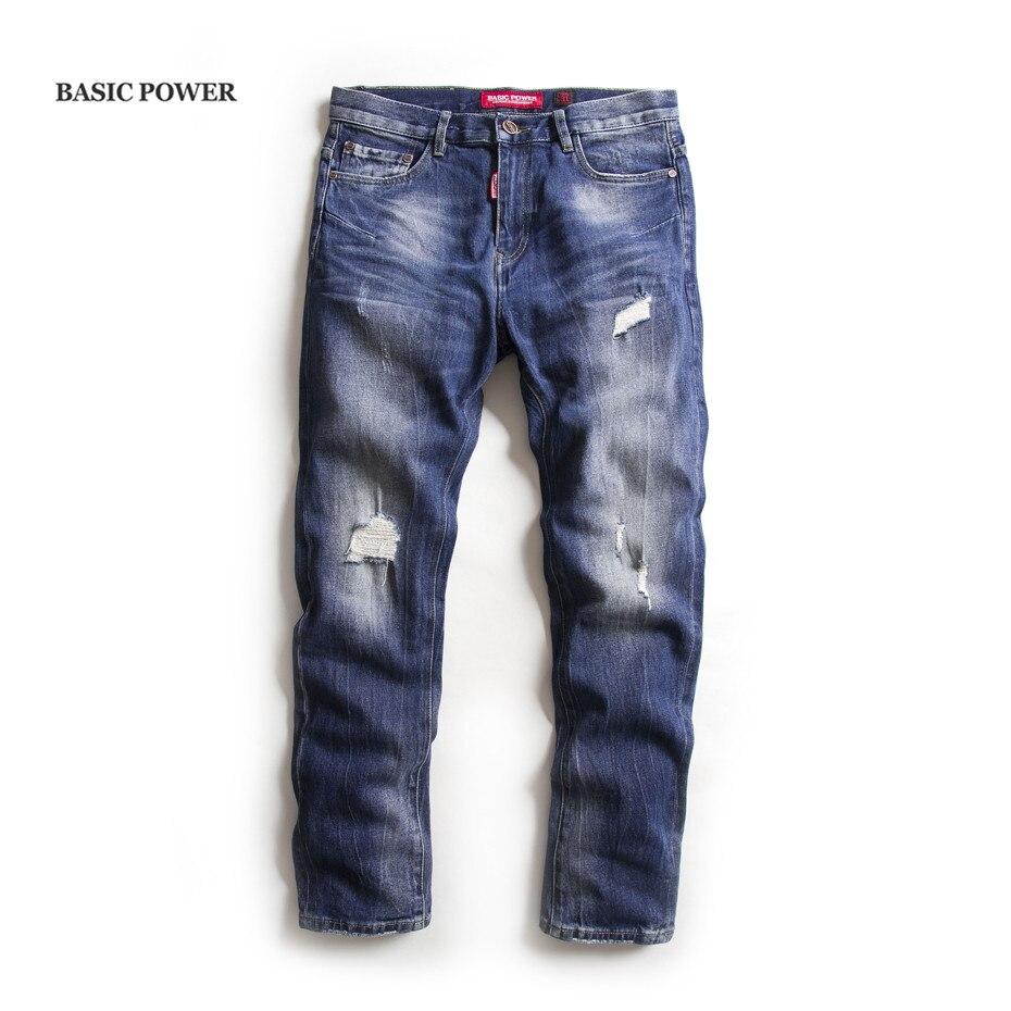 BASIC POWER Mens Ripped Jeans Brand Men Jean Male Cotton Straight Pants Long Denim Spring Summer Trousers 3103