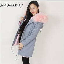Brand 2017 New Women Winter Coat Large Real Raccoon Fur Collar Hooded Long Jacket Detachable Faux Fur Lining Winter Fur Parka