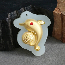 yu xin yuan Gold dinged with jade pendant Natural and tian white dolphin necklace pendant yuan tian xml update language