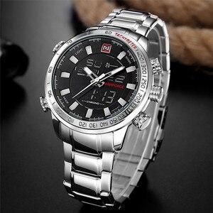 Image 2 - NAVIFORCE Лидирующий бренд мужские военные спортивные часы мужские s светодиодный аналоговые цифровые часы Мужские кварцевые часы из нержавеющей стали Relogio Masculino 9093