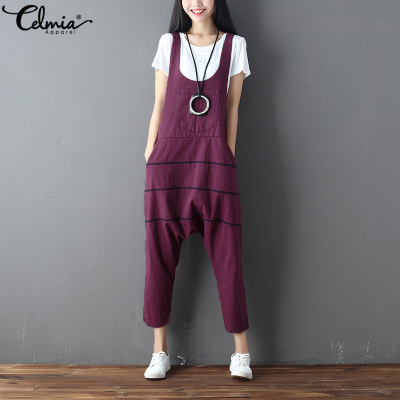 Celmia Fashion Women Retro Sleeveless Pockets Dungarees   Jumpsuits   Overalls Strappy Casual Loose Long Harem Pants Bib Trousers