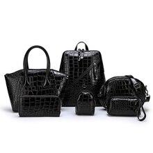 цена на 6pcs Women Handbag Set Alligator Leather Luxury Crossbody Shoulder Bags For Women Messenger Bag Purse Clutch Composite Bag Bolso