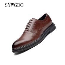 SYWGDC 2019 Formal Shoes Men Pointed Toe Men Dress Shoes Leather Men Oxford Formal Shoes For Men Fashion Dress Footwear