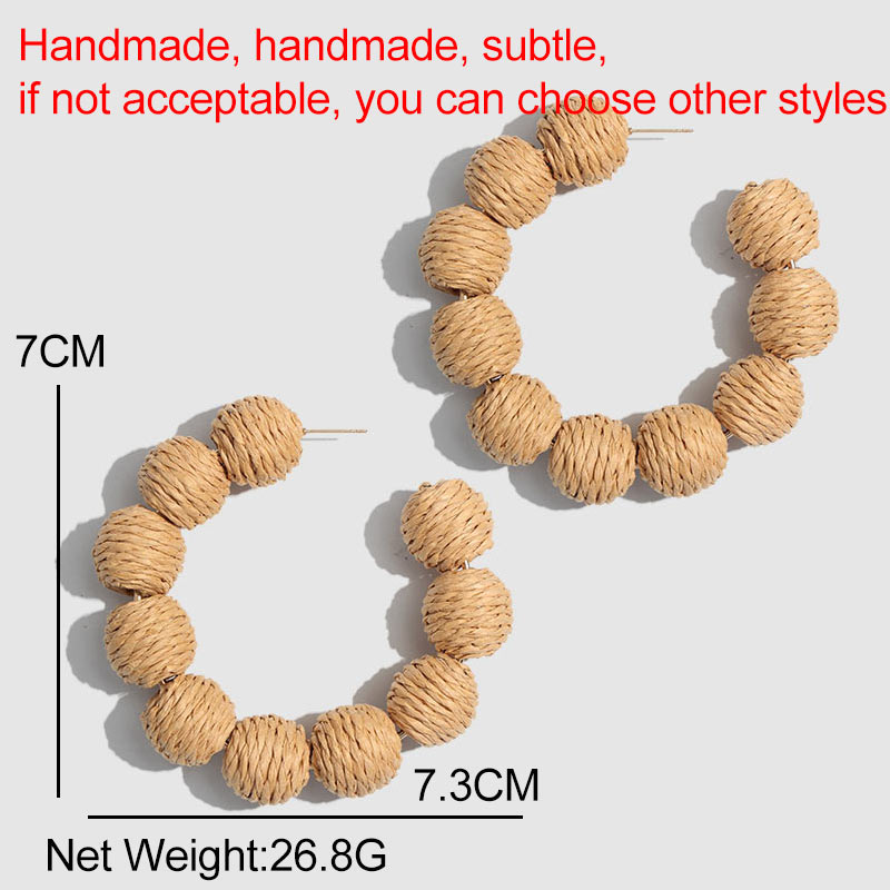 Flatfoosie New Handmade Wooden Straw Weave Rattan Vine Round Fashion Earrings Women 2019 Vinatge Punk Design Hoop Earring Party