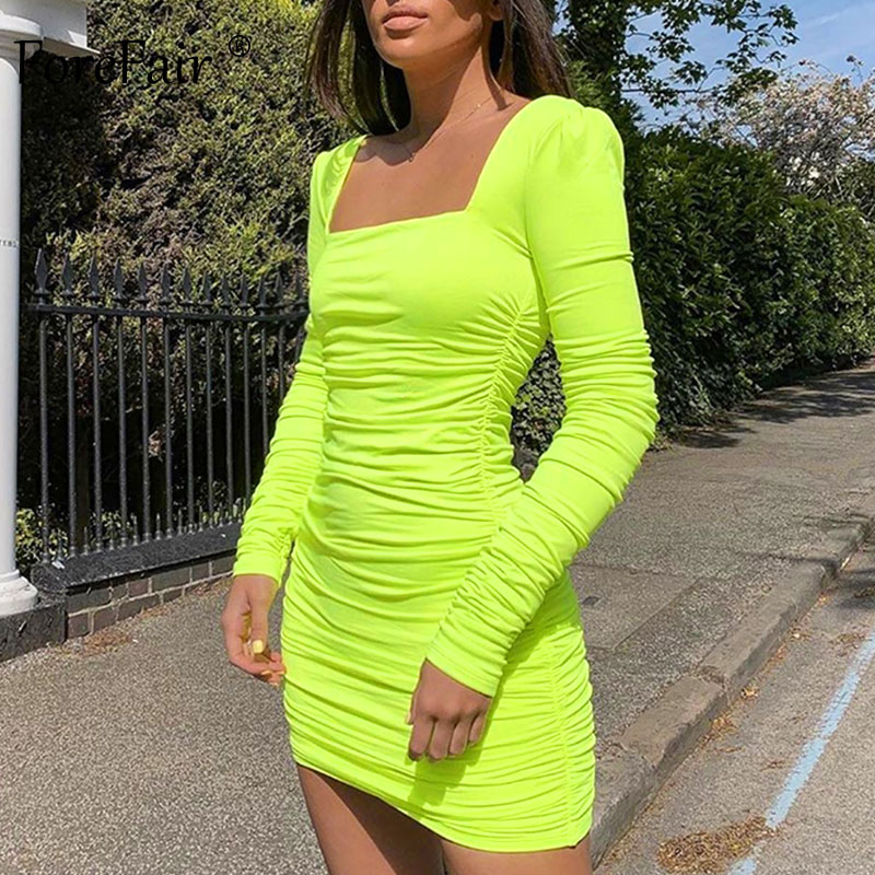 Forefair Square Neck Sexy Bodycon Dress 2019 Autumn Winter Backless Ruched Elegant Long Sleeve Neon Green White Mini Dress Women