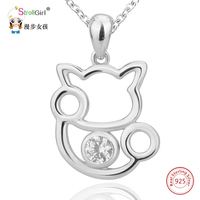 Hot Sale Cute Cat Necklaces Pendants Charms Authentic 925 Sterling Silver Chain White Round Crystal Hanging