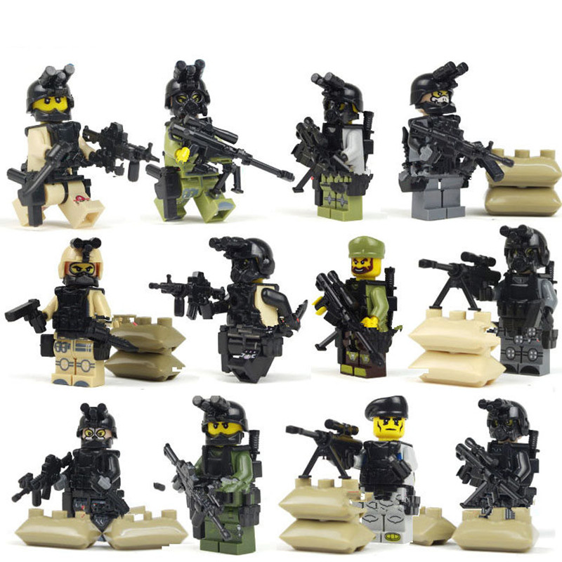 4styles Military Series Ghost Assault Military Soldier Building Blocks Bricks Toys For Children Compatible With LegoINGly Weapon xinlexin 317p 4in1 military boys blocks soldier war weapon cannon dog bricks building blocks sets swat classic toys for children