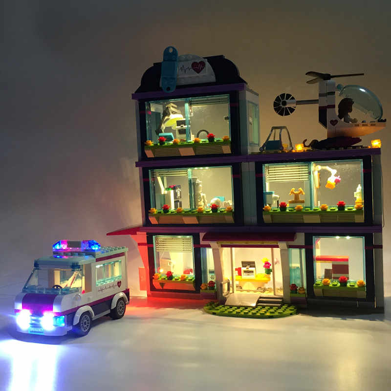 LED Light Up kit For Lego Friends Series 41318 and 01039 Heart Lake Love Hospital  Building Kits Blocks (not include the house)