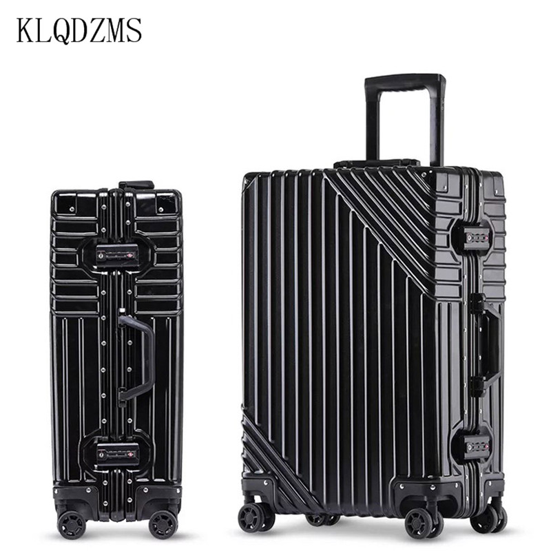 KLQDZMS 20/24/26/29inch RetroABS+PC Aluminum Fram Rolling Luggage Trolley Luggage Travel Suitcase Universal Wheel