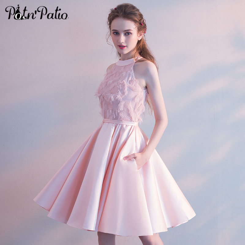 Elegant Pink Satin   Prom     Dress   Sexy Halter Sleeveless Feathers Knee-Length Evening Party Gowns 2018 New Women Formal   Dresses