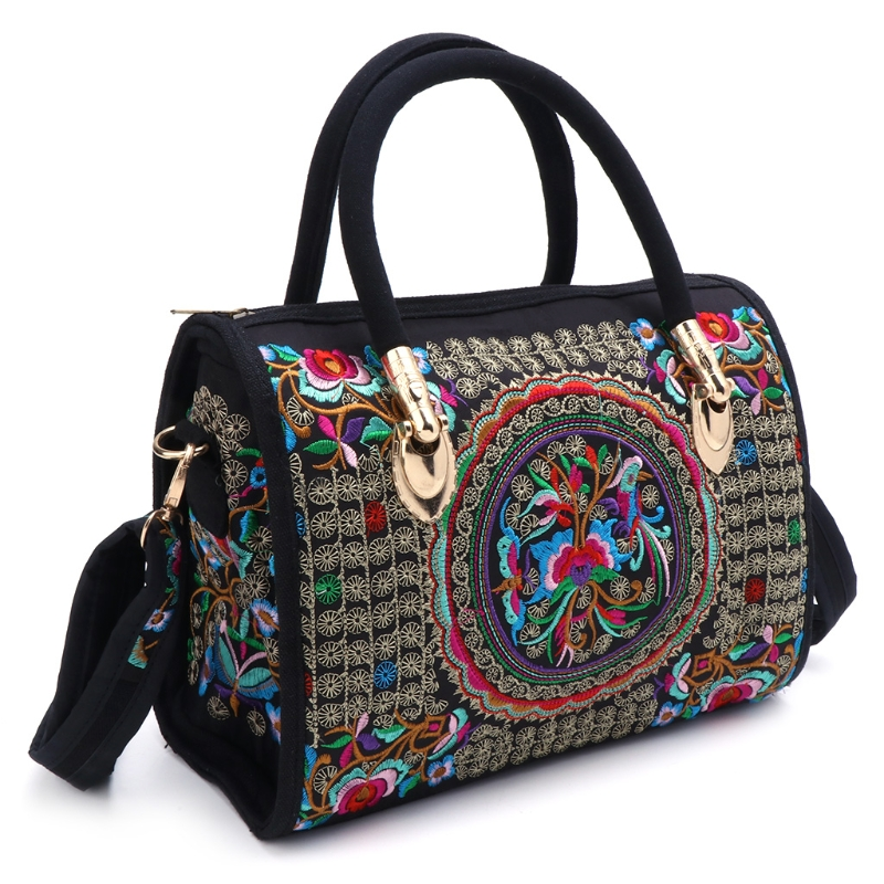 Women Floral Embroidered Handbag Ethnic Boho Canvas Shopping Tote Zipper Bag National Style