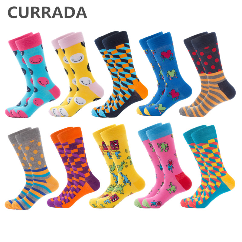 CURRADA 10 Pairs/lot Funny Men Socks Colorful Happy Creative Design Combed Cotton Man Sock Casual Novelty Compression Socks Men