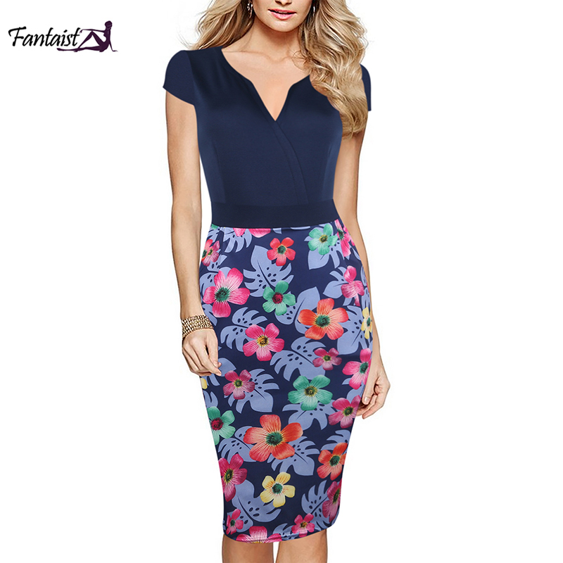 Fantaist Women Knee-length Summer Casual Dress Vintage Patchwork Print V-neck Tunic Slim Bodycon Club Party Office Ladies Dress