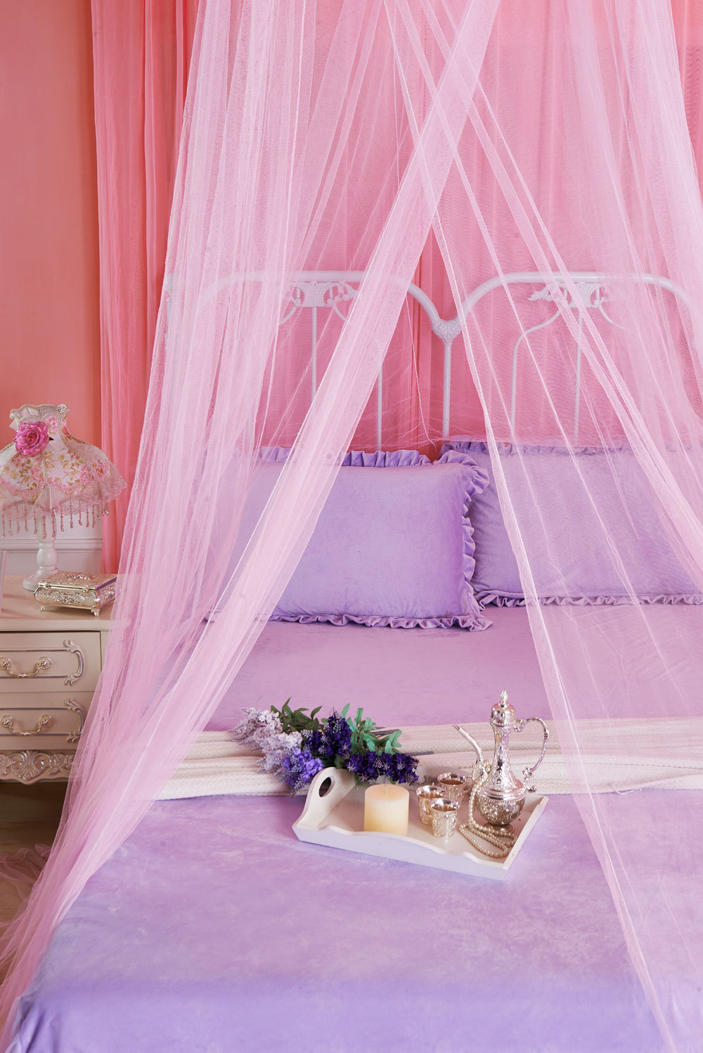 2017 new pink mosquito net curtain for bedding set 4 colors