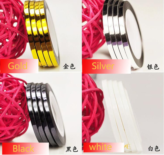 NAIL ART - STRIPING TAPE - WHITE /Black/Silver/Gold- 3MM 1Rolls Nail Art Decoration 20M/Roll,Free shipping