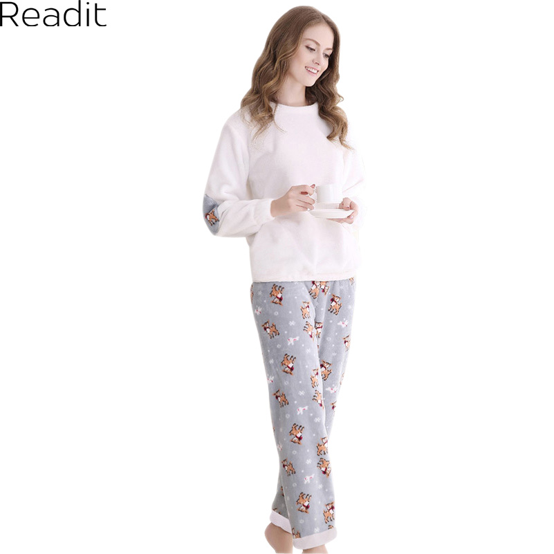 Winter Flannel Couple Pajama Sets For Women O Neck Long Sleeve Thickening Christmas White Pijama Mujer Plus Size PA1482