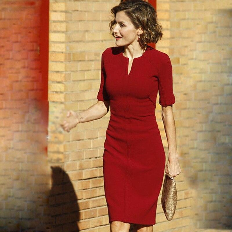 Us 399 Summer High Quality Kate Middleton Same Style Dresses V Collar Slim Short Sleeve Solid Dresses Vestidos Ol Dresses In Dresses From Womens
