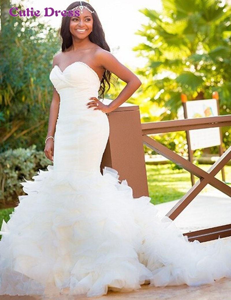 Mermaid Wedding Dresses with Ruffle Bottom