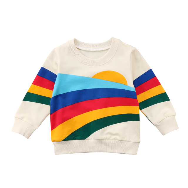 9cf724aa2a479 طفل بنات أطفال تي شيرت ملابس طفل rainbow قميص البلوز القمم في طفل ...