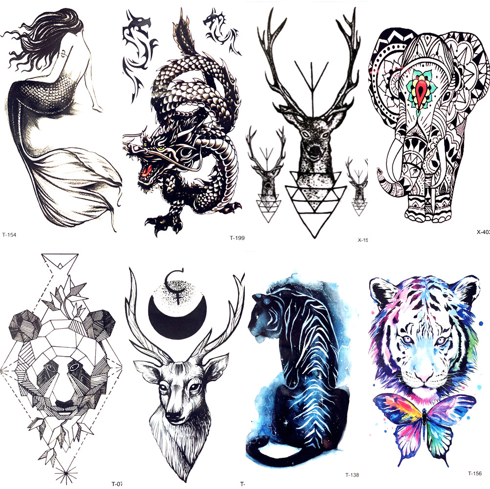 Little Black Chinese Dragon Moose Temporary Tattoo Stickers Beauty Mermaid Women Waterproof Tattoo Neck Body Arm Art Tatoos Men