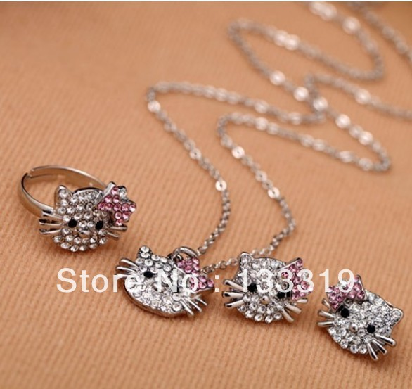 Fashion New style Super cute full crystal hello Cats ring, earring ear stud necklace set girls jewelry set wholesale