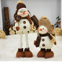 Christmas Decorations for Home Extendable Standing 38 55cm Snowman Dolls New Year Birthday Gift Plush Toy Xmas Decor Ornaments
