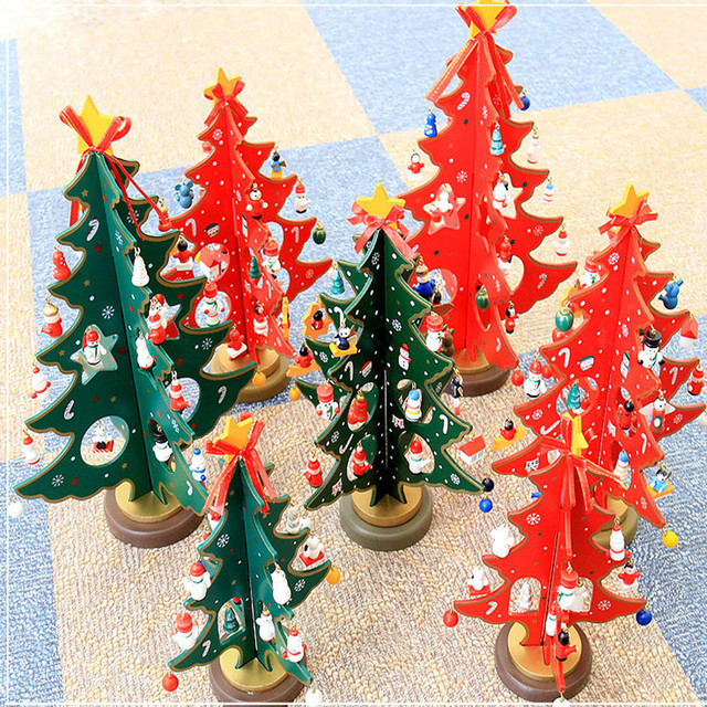 christmas tree wooden christmas decorations home decor kids xmas gift tree small hanging ornaments natale decorazioni