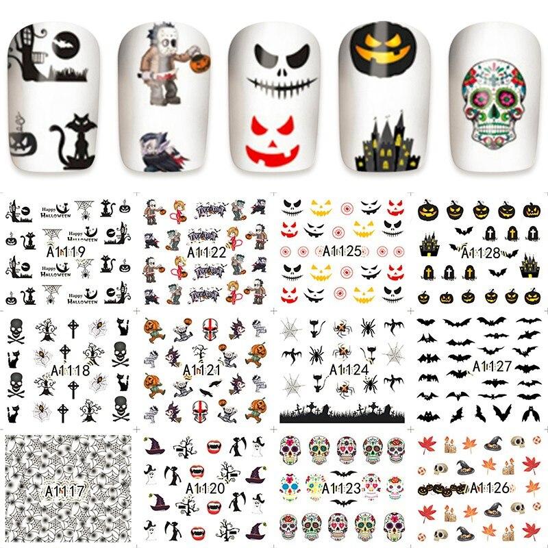 12 Sheets Water Decal Nail Art Nail Sticker Decoration Slider Tattoo Full Cover Halloween Pumpkin Skull Design Decals A1117-1128