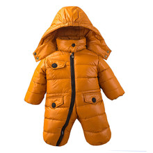 Baby Down Coat Baby Romper Outerwear Coats Snow Wear Winter Solid Down Jacket Outerwear 80% White Duck Down Warm Rompers LTY42