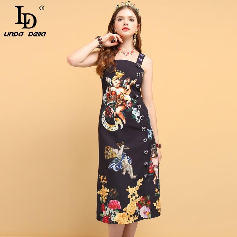 20d6722c1f21 Ucuz LD LINDA DELLA Yeni Moda Pist yaz elbisesi kadın Spagetti Kayışı Zarif  Melek Çiçek Baskı