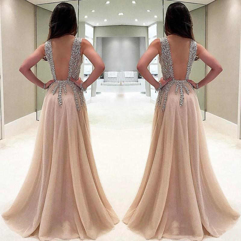 ... Long Prom Dresses 2019 Sexy Deep V neck Side Split Evening Gowns Formal  Tulle Plus Size ... c52828a2e3bf