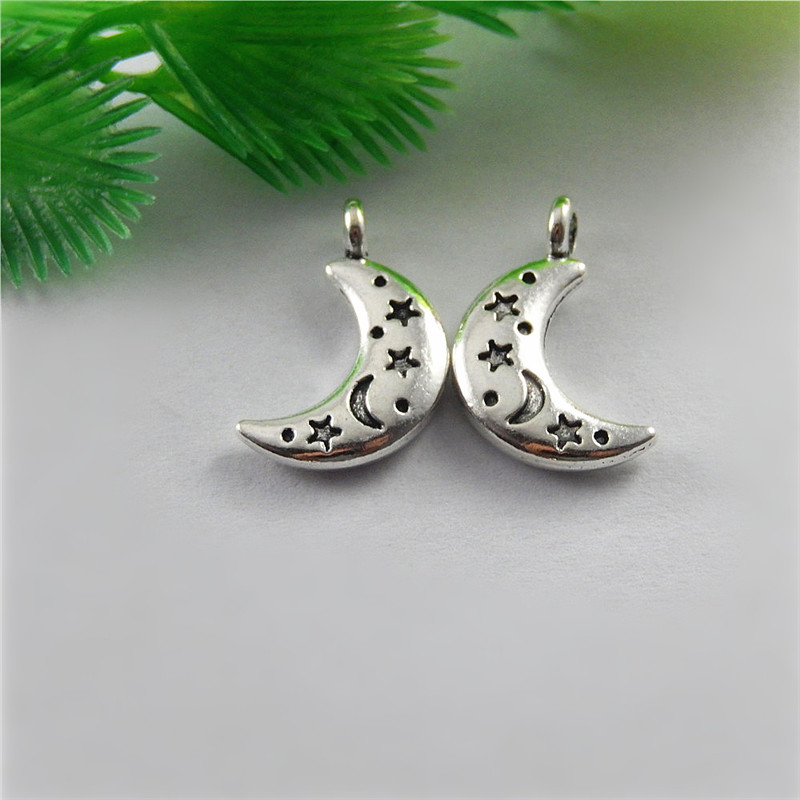 20pcs Antique Silver Crescent Moon Style Jewelry Pendants Charms Finding Jewelry Making Key Chain Accessary 20*11*3m
