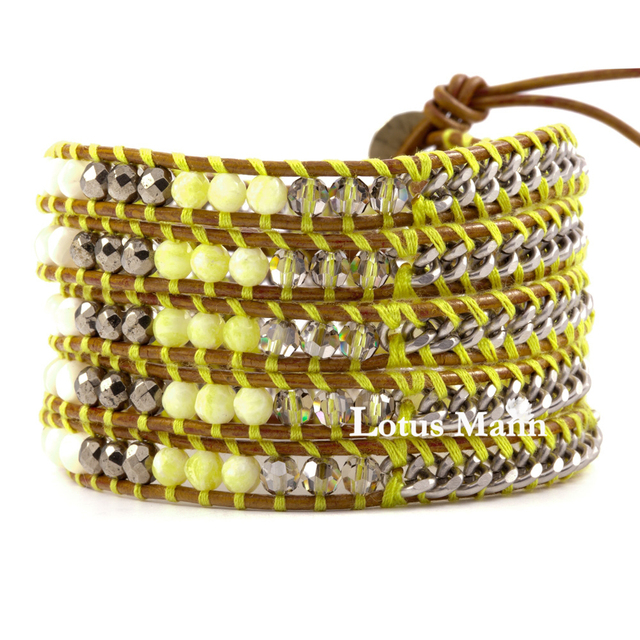 Us 45 05 Lemon Stone Pyrite Pearl S Chain Leather Cord Bracelet Neon Yellow Star In Charm Bracelets From Jewelry Accessories On Aliexpress