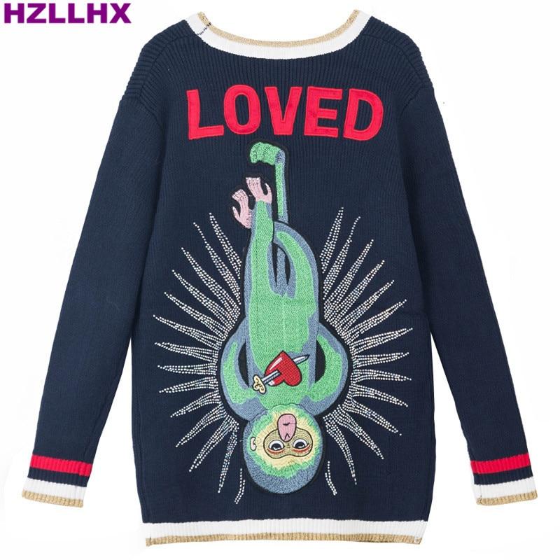 Online Shop HXLLHX women dark navy knit V-neck embroidered monkey ...